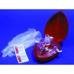 Resuscitation CPR Mouth Barrier, Res-Cue Mask, Complete Unit (Reusable Mask, 1-way Valve, Filter, Vinyl Gloves, Wipes, Oxygen Inlet, Head Strap, Hard Red Case)