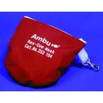 Resuscitation CPR Mouth Barrier, Res-Cue Mask, Complete Unit (Reusable Mask, 1-way Valve, Filter, Vinyl Gloves, Wipes, Oxygen Inlet, Head Strap, Soft Red Case)