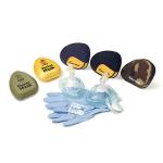 Resuscitation CPR Mask, Pocket Mask, Reusable, Hard Yellow Case, Gloves, Wipe, 1-Way Valve, Filter, Universal Size